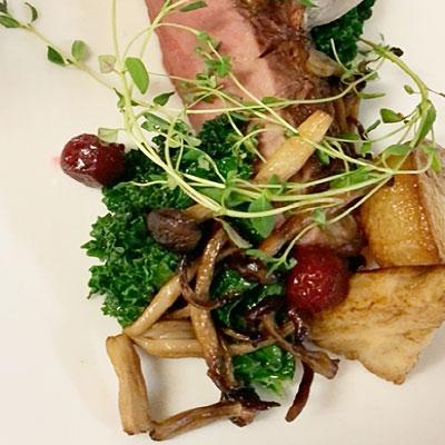 Andebryst med grønkål, løg, svampe, bagt selleri, tranebærsauce og Pommes Fondant - Månedens opskrift Hotel Svendborg